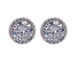 مجوهرات أقراط الكريستال الزفاف للنساء البوهيمي جميلة جولة القرط الماس الكامل CZ الزركون بنات السيدات المرأة