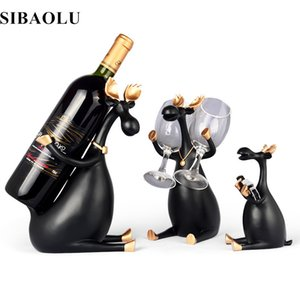 Nordic Resin Red Wine Rack Deer Family Bottle Holder Resin Figurines Miniatures Furnishing Articles for Home Wedding Decoration T200703