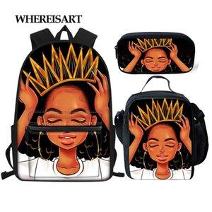 십대 여자 어린이 소녀 소년 블랙 아메리카 아프리카 브랜드 디자인 학교 배낭 Bookbags에 대한 WHEREISART 3D 인쇄 학교 가방 세트