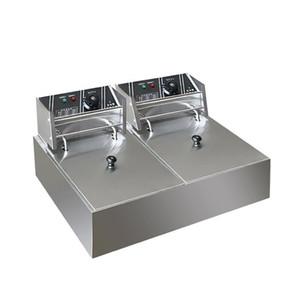 chaud Costway 2500W double réservoir électrique Countertop Friteuse Maison Cuisine en acier inoxydable Thermostat Friteuse