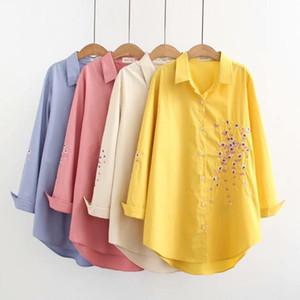 Blusas das mulheres Camiseta Plus Size Camisa Primavera Oversize Grandes Mulheres Longa Senhoras Estilo Roupas de Manga Completa