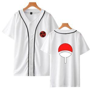 Mode populaire Naruto Baseball T-shirt Street Wear Anime T-shirt populaire japonaise Casual Hommes / Femmes / Enfants Blanc Top Imprimer