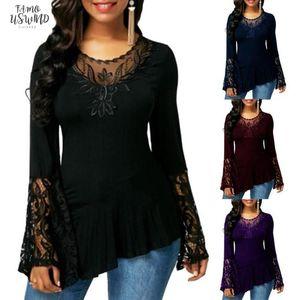 O Casual Mulheres Autumn Long Neck Sleeve Lace costura Irregular Hem longo T Shirt Solid Color Camisetas Mulheres Streetwear Camiseta Verão