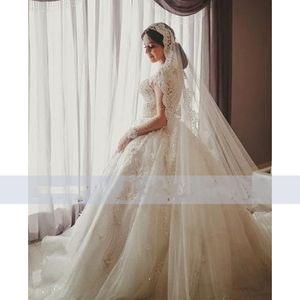 2021 Luxury Long Sleeve Sheer Neck Ball Gown Wedding Dresses Beaded Applique Lace vestidos de novia Hot Sale