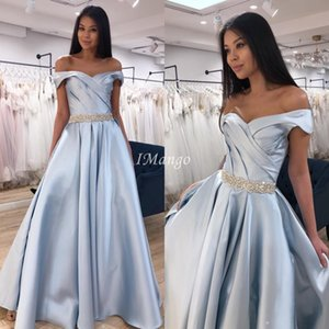 Modest Off The Shoudler Evening Dresses A-Line Arabic Formal Prom Celebrity Party Gowns Sweep Train Robe De Soriee 2020