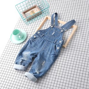 2020 new children's baby children's denim belt pants 0-4 baby Korean style panty panty hole belt pants
