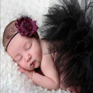 Roupa do bebê da menina saia tutu Floristas Tulle Tutu Saias Headband 2pcs set recém-nascido Photo Prop Fotografia Outfits Props 18 cores