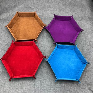 Foldable Dice Trays Hexagon PU Leather Velvet Cloth Tray for Dice Table Games Desktop Storage Box Tray Decorative LX1720