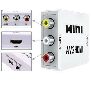 AV-TO HDMI Scaler Adapter HD Video Composite-Konverter-Box HDMI-auf-Cinch-AV / CVSB L / R Video 1080P Mini-HDMI-AV-Unterstützung NTSC PAL Neue