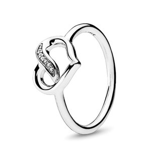 Real 925 Sterling Silver Dreams Ribbon of Love Ring Luxury Designer Jewelry Women CZ Stones Diamond Heart Engagement Rings with Pandora Box