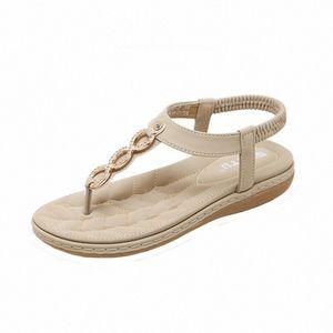 Scarpe SAGACE Womens sandali estate delle donne piatti Boemia ragazze Fibbia in metallo con strass Sandali esterni di nuova estate di sandali Gesù Sabbia ZpFC #