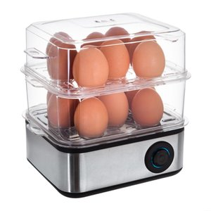 NewELECTRIC 2 TIER 16 EGG BOILER & POACHER OMELETTE MAKER VEGETABLE STEAMER COOKER