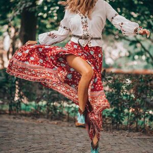 BOHO INSPIRED Button Down Skirts womens elastic waist tassle tied maxi skirt rayon wine red floral boho skirts new faldas 2020 T200712