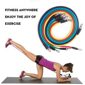 11pc / набор Фитнес Сопротивление Группы тросовых Latex Strength Workout Gym Упражнение Оборудование Главной Резинки для тела Trainning