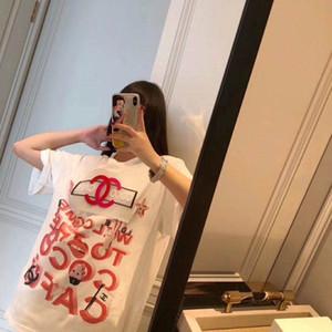 2020 summer design new printed short sleeve T-shirt ice cream alphabet creative design versatile loose round collar slimming