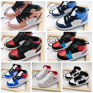 Cheap 1s Kids Basketball Shoes PreSchool Signed High Youth Chicago New Born Baby Infant Toddler Trainers Small Boys Girls Sneaker Size 26-35