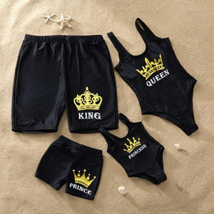 2020 família Matching Swimsuit One Piece Mulheres Swimwear Childrens Homens Shorts Mãe Filha Biquinis Kid Filho menina rainha Swimming Suit