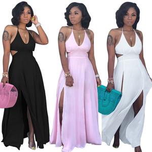 2020 가을 여성 V 넥 열고 다시 하이 사이드 분할 맥시 미디 bodycon 드레스 나이트 클럽 파티 긴 드레스 vestidos 고삐