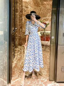Yaz 2020 yeni çok peri tatil tarzı v yaka mavi çiçekler çiçek elbise kız arkadaşları peri elbise kalma dress