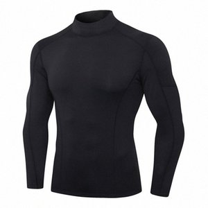 Men Fitness Long Sleeve High-Stretch Skinny Quick-Drying Running Training Wear Turtleneck Color Matching Sports Top T-Shirt z 6cOl#