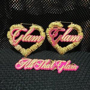 Personnalisable Personnaliser nom de coeur en bambou Boucles d'oreilles pour les femmes plaque BIJOUTERIE Statement Boucles d'oreilles Accessoires Vente Hot