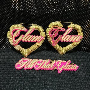 Customizable Customize name heart Bamboo Hoop Earrings For Women Jewelry Statement custom plate Earrings Accessories Hot Sale