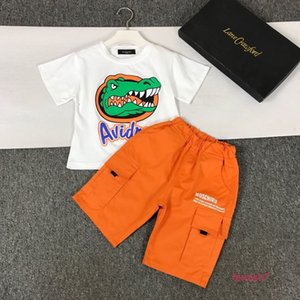 High quality printing new boys girls fashion thin Pure cotton short sleeve two piece suit