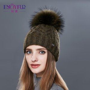 ENJOYFUR Kalın Çift Katmanlı Kadınlar Kış Şapka Moda Kaba Twist-Tipi Örme Şapka Kadın Ponpon Cap Kaşmir Beanies D18110102 Isınma