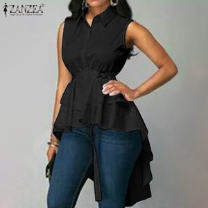 Blusas Top 2020 ZANZEA Fashion Asymmetrical Blouse Summer Sleeveless Belted Tunic Tops Women Casual Solid High Low Shirts Female Y200622