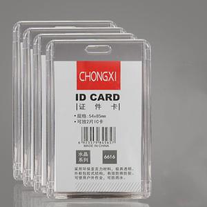 Acrylique Carte Transparent Porte-VERTICAL Longe Case Sac étanche cartes d'identité permis Carte des employés Badge Holder Accessoires BH2521 CY