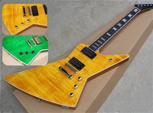 freies Verschiffen unregelmäßige Explorer-Gitarre, Mahagoni Korpus, Ahornfurnier, Palisander Griffbrett weiß Bindung, HH LP Pickup, gelb Gitarre grün guit