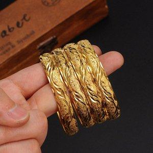 4 pièces peuvent ouvrir Dubaï India Gold Bangles Femmes Hommes Bracelets filles Afrique Ethiopie enfants bijoux de mariage mariée Bangles cadeau jlJB #
