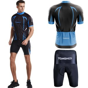 TOMSHOO Men Cycling Jersey Set Breathable Short Sleeve Bike Shirt with Padded Shorts MTB Bicycle Riding Biking Clothing Set