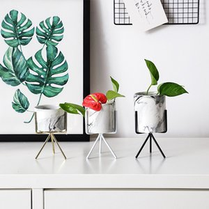 CellDeal 1SET Ceramic Plant Pot Succulent Dry Flower Stand Vase Planter Tool Nordic Minimalism Style with Iron Wire Metal Rack Y200709
