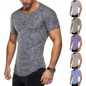 Designer de Verão Mens Tshirts Streetwear Listrado Magro Homme Tshirts Contraste Cor manga curta O Neck Homme Tees