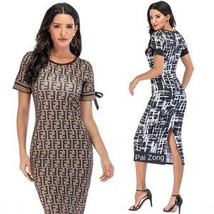 girocollo stampa digitale 2020 nuove donne sottile vestito spaccato forcella Abito lungo digitale