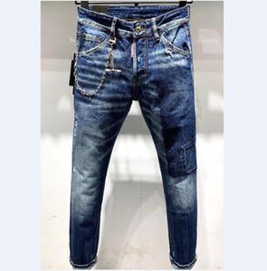 HOT Arrivals Solid Classic Style Fashion Straight Fit Biker Designer Mens Jeans Stripe Broken Hole Stripes Top Quality Pants Us Size 28-38