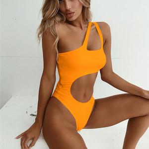 Sexy One Piece Swimsuit Women 2019 Summer Swimwear Women Push Up One Shoulder Bikini Bathing Suits Bodysuit Monokini Swimsuit