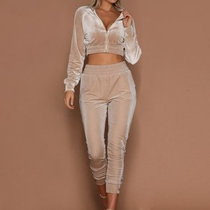 LAAMEI Women Tracksuit Zipper Hoodies Sweatshirt Pants 2 Pieces Set Fashion Female Cropped Top Pullover And Trousers Suits CX200715