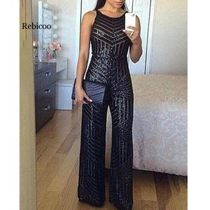 Elegant Sleeveless Wide Leg Jumpsuit for Women Glitter Round Neck Sleeveless Sequins Jumpsuit Sexy Night Club Party Overalls