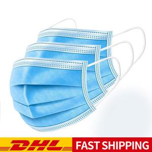 Masque jetable contient tissu soufflé à l'état fondu, la filtration 3 couches, facile à utiliser, confortable à porter, la respiration et la livraison rapide sans re