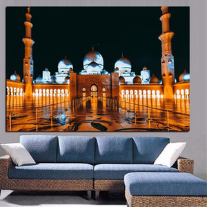 Abu Dhabi Islam Sheikh Zayed Mosque Landscape Canvas Oil Painting Religious Islamic Poster Prints Wall Art Pictures for Bedroom Home Decor