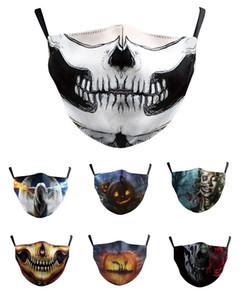 Halloween Party maschere Fun Mask Cosplay Digital Print novità cranio maschera facciale di Cosplay del cotone degli uomini Donne polvere Maschera antivento maschera facciale