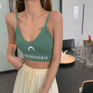 Crescent printed U Tops sling ladies sports Camisoles seamless breathable comfortable knitted V-neck Camisoles clothes