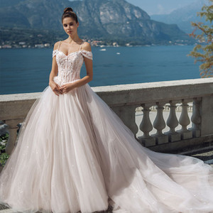 Charming Beaded A Line Wedding Dresses Sequined Spaghetti Straps Neck Appliqued Bridal Gowns Sweep Train Tulle robe de mariée