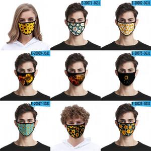 사용자 정의 해바라기 얼굴 높은 탄성 직물 천 안면 보호구 3D 디지털 인쇄 방풍 방진 Mascarilla 재사용 블랙 2 2mlg의 B2 마스크
