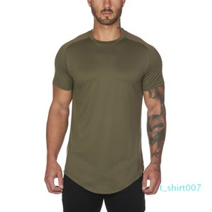 Mesh T-Shirt Clothing Tight Gyms Mens Summer New Brand Tops Tees Homme Solid Quick Dry Bodybuilding Fitness Tshirt t07
