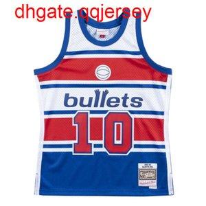 Balas baratos Manute Bol # 10 Mitchell Ness 1985-1986 Jersey Throwbacks Vest costurado jérseis de basquete