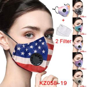 la cara de América del diseñador de impresión de la bandera de leopardo máscara ajustable polvo máscara protectora y la neblina con filtro de PM 2,5 transfronterizas mascarillas transpirable