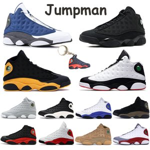 Black Cat Jumpman 13s Shoes Mens Formadores boné e um vestido Arrefecer Bred Gray Court Purple Olive Verde afortunado Hiper Real Chicago Basketball Sneakers